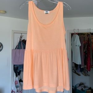 Light Peach Striped Peplum Tank Top
